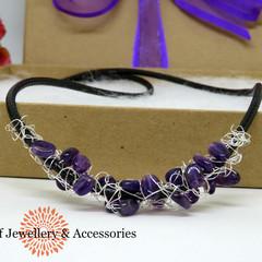 Amethyst Crochet Wire Beaded Necklace