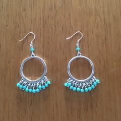 Boho turquoise hoop beaded earrings