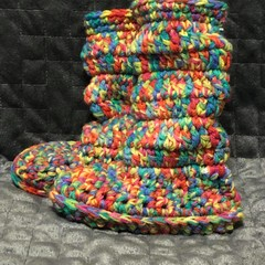 Children's multi coloured slipper boots up to 15cm foot