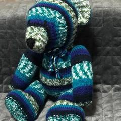 The Bunker Bear. blue pattern