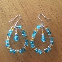 Boho teardrop aqua and tan drop earrings
