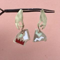 Asymmetrical Brass & Resin Hand Earrings 2