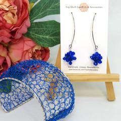 Blue Boho Crochet Wire Beaded Cuff Bracelet and Earring Set