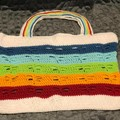 Crochet dragonfly cotton rainbow bag