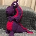 Crochet Fierce Dragon. purple and hot pink.
