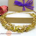 Gold Amber Crochet Wire Beaded Necklace