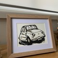 FIAT 500 Hand Painted/Drawn Framed Car Artwork