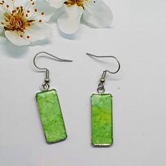Green Rectangular Silver Drop Earrings