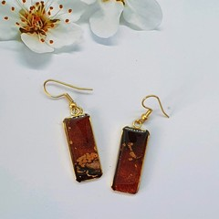 Rectangular gold earrings In Brown Tonings