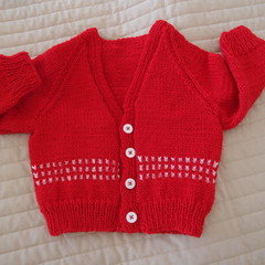 SIZE 6-12 mths - Hand knitted cardigan, unisex