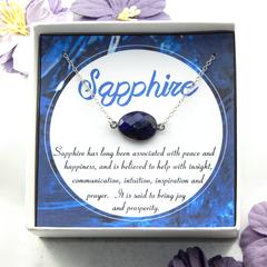 Sapphire Necklace,Blue Sapphire Necklace,Freeform Sapphire Necklace