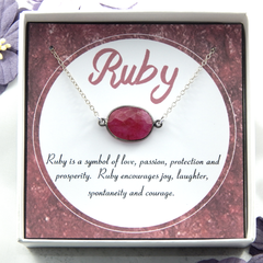 Ruby Necklace,Red Ruby Necklace,Freeform Ruby Necklace