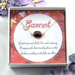 Natural Garnet Necklace,Red Garnet Necklace,Garnet Gem Slice Necklace