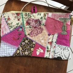HoBo Crazy Quilt satchel Hand beaded, iPad or gift bag  birds and flowers