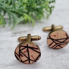 Men's Cork / Brass Cufflinks, Father's Day Gift for Him