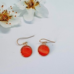 Red Round Drop Earrings in Rose Gold