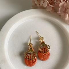 MINI BURNT ORANGE Handmade Drop Earrings with Shell Charm