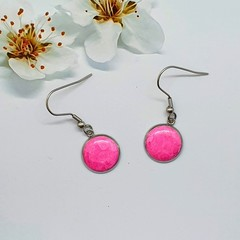 Pink Silver Round Drops Finished in Resin