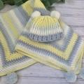 Handmade Crochet Baby Beanie Blanket set