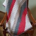 Wrap or Knee rug, pram, cot blanket, small crochet throw.  Wool blend.