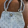 Crazy Quilt denim purse with machine embroidery,