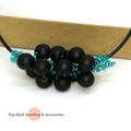 Frosted Black Sea Foam Crochet Wire Beaded Necklace