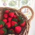 Strawberries  felt food, play kitchen, pretend food, pure new wool felt