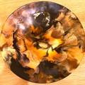 Handmade resin bowl in autumn colours 27cm across 3cm deep