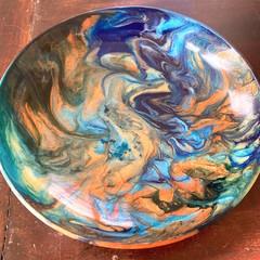 Handmade resin bowl in beautiful blues 23cm across 5cm deep