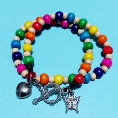 Rainbow Beaded Double-wrap Bracelet