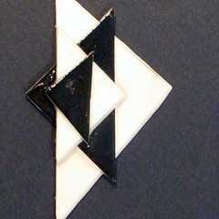 Paper Art Deco brooch shawl pin lapel pin in black and white.