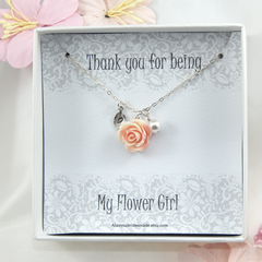 Flower Girl Necklace,Personalized Flower Girl Gift Choose Your Initial
