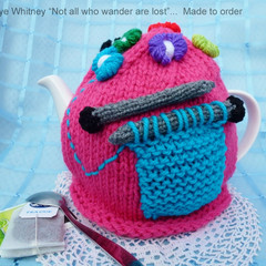 """""""KAYE'S FUNKY TEAPOT COSY COLLECTION!"""" - """"KNIT 1, PURL 1!"""""""