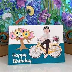 Greeting Card Girl with Bicycle and Blossom Tree - Happy Birthday Card.