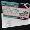 Handmade Birthday Card - Wobble spring Donkey with bookmark