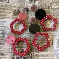 Handpainted triple layer earrings (red/pink)