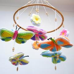 Butterfly Baby Mobile - Bright colours - felt butterflies -  felt flowers - crib