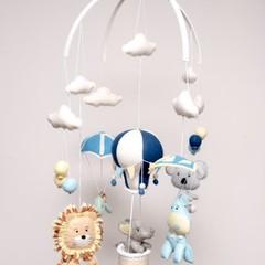 Hot Air Balloon, ~ Elephant, Hippo, Lion, Turtle & Koala,  Baby Mobile