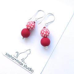 Red velvet polymer clay beaded drop earrings