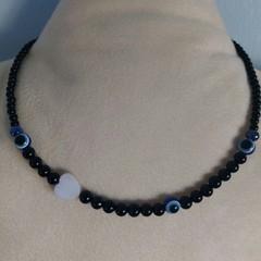 43cm Evil Eye Black Beaded Necklace