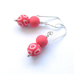 Swirl and coral polymer clay beaded drop earrings
