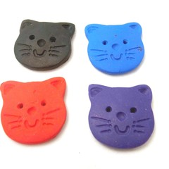Buttons. 4 cute cat buttons in red, blue, black and purple.