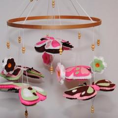Butterfly Baby Mobile - felt butterflies -  felt flowers - crib mobile - nursery