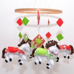 Horse Mobile - Baby mobile ~ crib mobile - felt horses - baby shower gift - pick