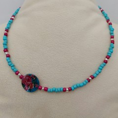 46cm Turquoise Beaded Necklace with round Floral glass bead.