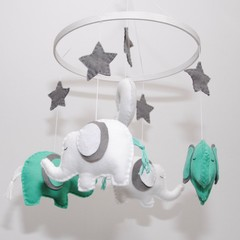 Elephant  Baby mobile - Sea Green and white elephants - crib mobile - pick your