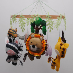Jungle animal baby mobile ~ lion-zebra-monkey-giraffe-elephant-hippo-tiger-crib