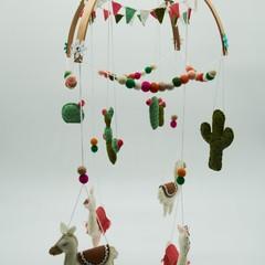 Llama and Cactus Nursery Mobile - Boho Nursery Decor - Baby Shower Gift - Baby M
