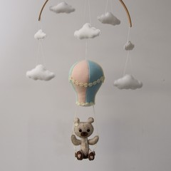 Hot Air Balloon, Teddy Swing baby mobile - baby shower gift - pick your own colo