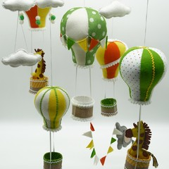 Hot Air Balloons, Giraffe and Elephant ~  baby mobile